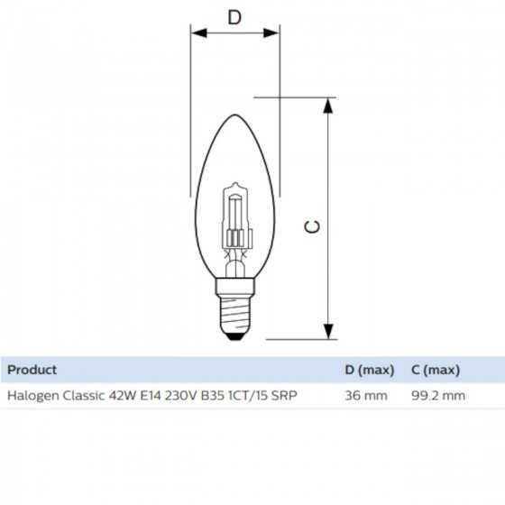 Bec Halogen Philips EcoClassic 42W(55W) E14 B35 Clar 2800k