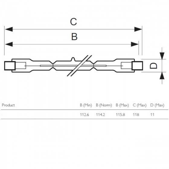 Bec Halogen Philips Plusline ES Small 118mm 240W R7s 2900K