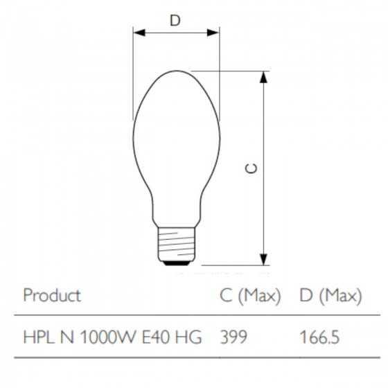 Bec Vapori Mercur Philips HPL-N 1000W E40 4200K
