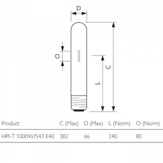 Bec Halogenuri Metalice Philps MASTER HPI-T 1000W E40 4300K