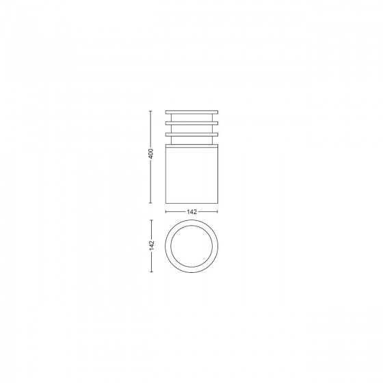 Stalp Exterior LED Philips Hue Lucca 17402/93/P0 9W (60W) 806lm lumina alba calda