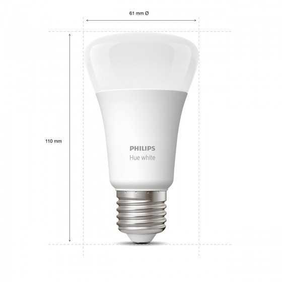 Set 2 Becuri LED Philips HUE White Bluetooth 9W(60W) E27 A60 806lm Lumina Alba Calda
