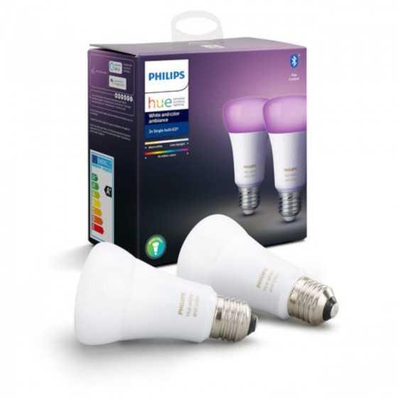 Set 2 Becuri LED Philips HUE RGB Bluetooth 9W(60W) E27 A60 806lm Lumina RGB