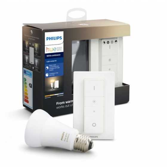 Bec LED Philips HUE Ambiance 8.5W(60W) E27 A60 806lm Lumina Alba Calda-Rece + Intrerupator dimmer