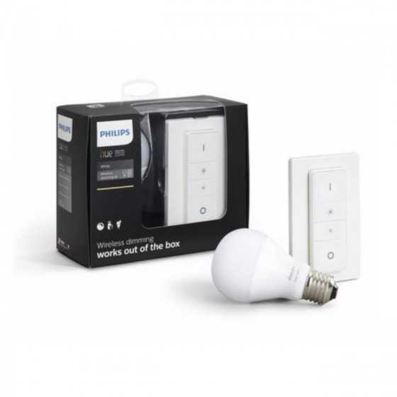 Bec LED Philips HUE White 9W(60W) E27 A60 800lm Lumina Alba Calda + Intrerupator dimmer