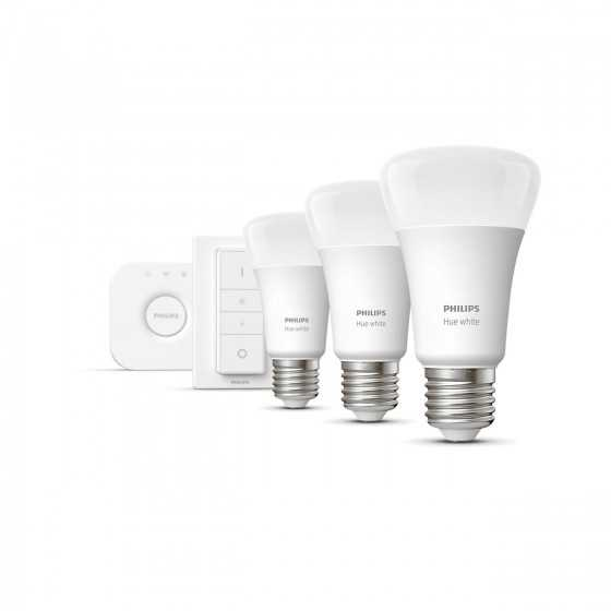 Set 3 Becuri LED Philips HUE White 9W(60W) E27 A60 806lm Lumina Alba Calda + Bridge + Intrerupator dimmer