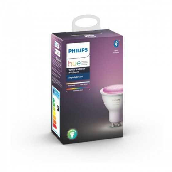 Bec LED Philips HUE RGB Bluetooth 5.7W(50W) GU10 350lm Lumina RGB