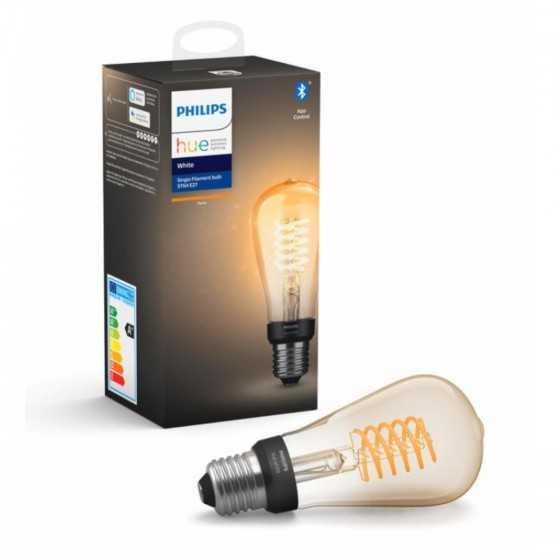 Bec LED Philips HUE Filament Bluetooth 7W(40W) E27 ST64 550lm Lumina Alba Calda