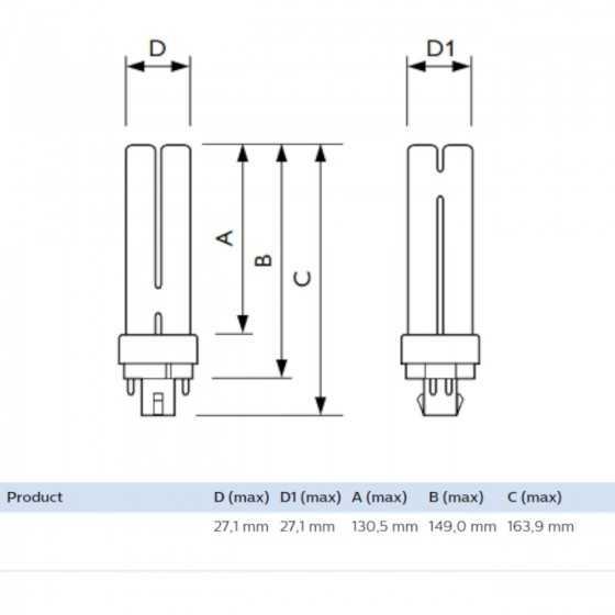 Bec Compact Fluorescent Philips Master PL-C 26W/827/4P G24q-3