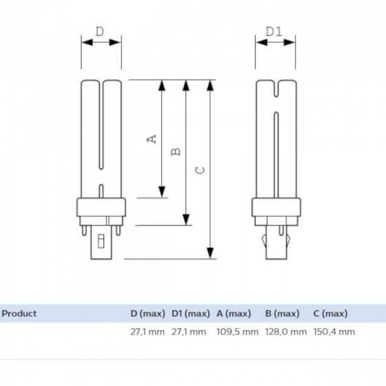 Bec Compact Fluorescent Philips Master PL-C 18W/830/2P G24d-2