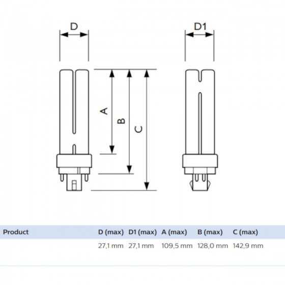 Bec Compact Fluorescent Philips Master PL-C 18W/840/4P G24q-2