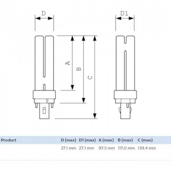 Bec Compact Fluorescent Philips Master PL-C 13W/827/2P G24d-1