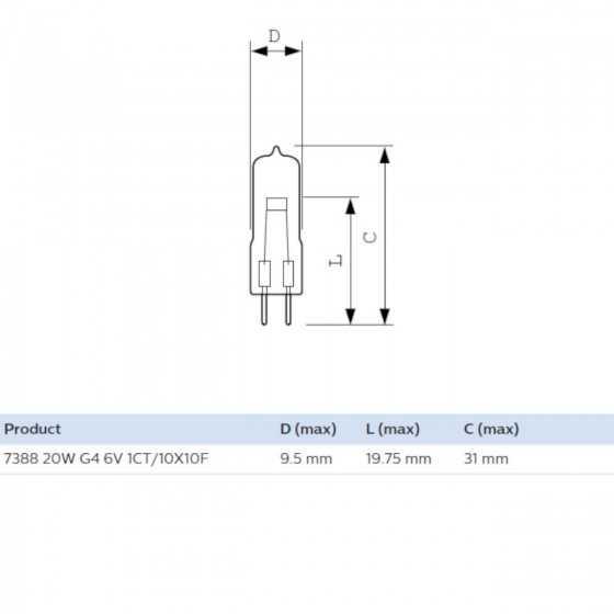 Bec Halogen Philips Proiector 7388 20W G4 6V Clar