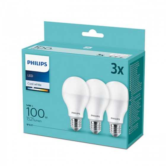 Set 3 becuri LED Philips 13W(100W) E27 A67 1521 lm 2700K Mat