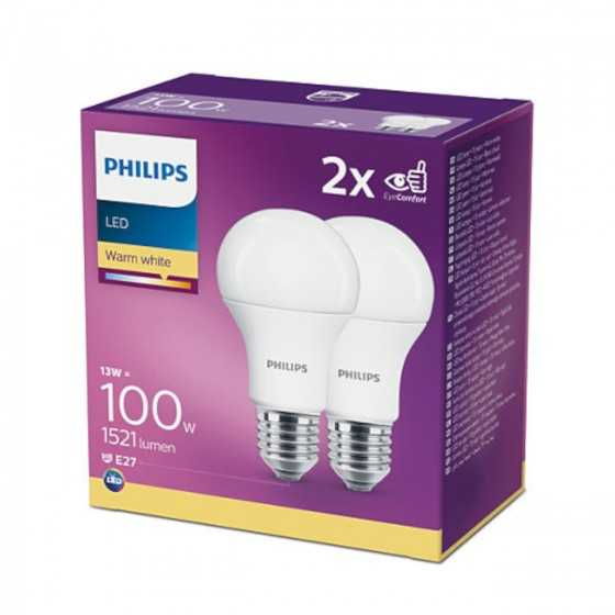 Set 2 becuri LED Philips 13W(100W) E27 A60 1521 lm 2700K Mat
