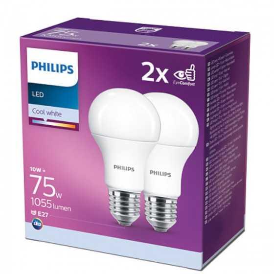Set 2 becuri LED Philips 10W(75W) E27 A60 1055 lm 4000K Mat