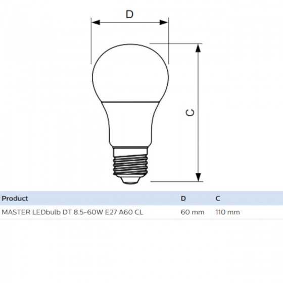 Bec LED Master Philips 6W(40W) E27 Dimabil A60 470 lm 2700K Clar