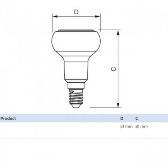 Bec LED Reflector Philips 4.3W(60W) E14 Dimabil R50 320 lm 2700K