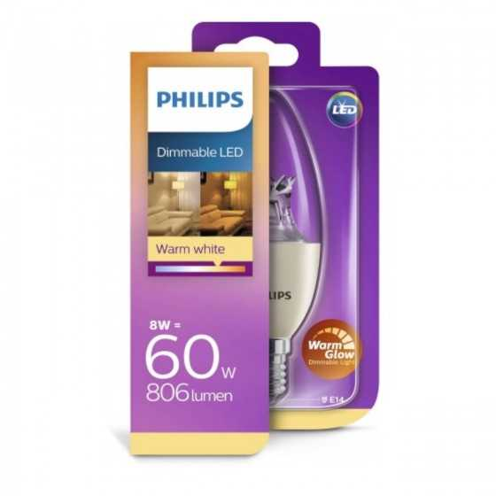 Bec LED Lumanare Philips 8W(60W) E14 Dimabil B40 806 lm 2000K-2700K