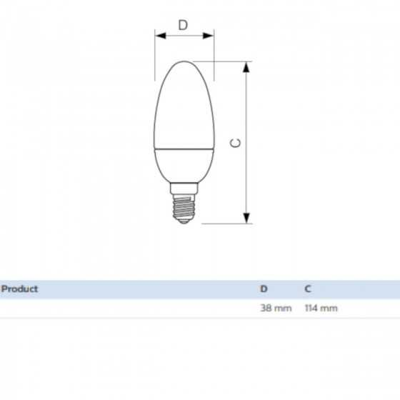 Set 2 becuri LED Lumanare Philips 7W(60W) E14 B38 806 lm 2700K Mat