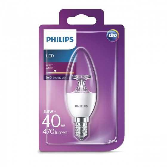 Bec LED Lumanare Philips 5.5W(40W) E14 B35 407 lm 2700K Clar