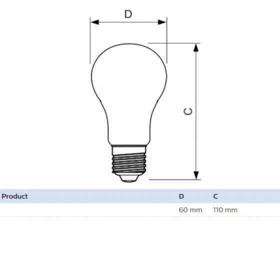 Bec LED Clasic Philips 7W(60W) E27 Dimabil A60 806 lm 2000K-2700K