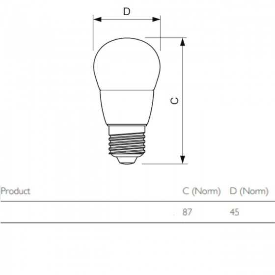 Bec LED Clasic Philips 5.5W(40W) E27 P45 470 lm 2700K Mat