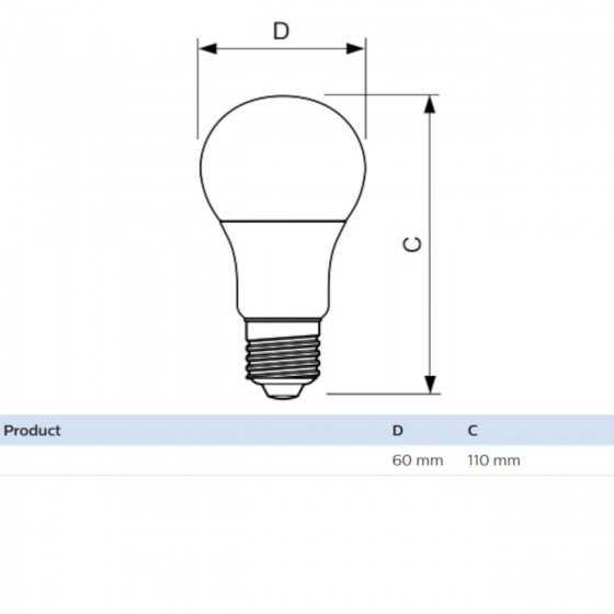 Set 2 becuri LED Philips 11W(75W) E27 A60 1055 lm 2700K Mat