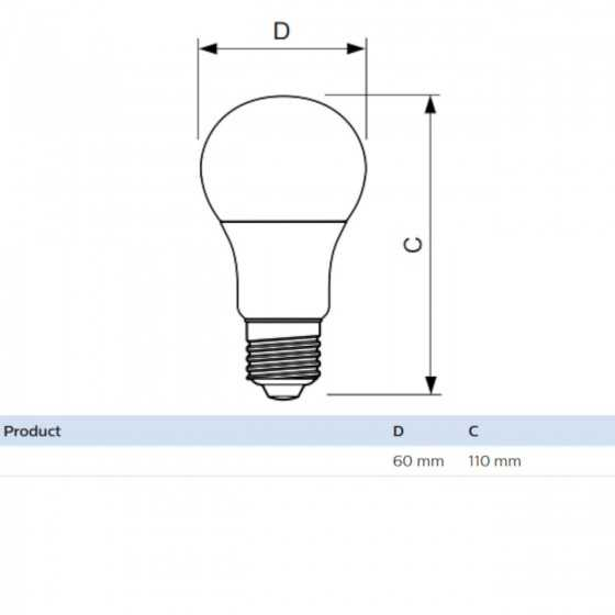 Bec LED Clasic Philips 10W(75W) E27 A60 1055 lm 6500K Mat