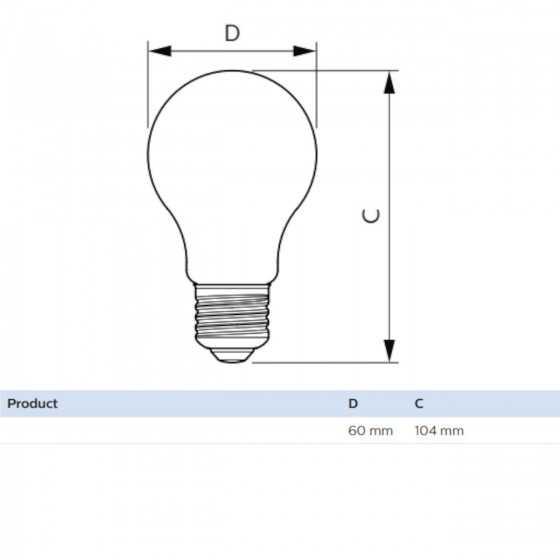 Bec LED Filament Philips 8W(50W) E27 Dimabil A6O 630 lm 2000K Vintage Gold
