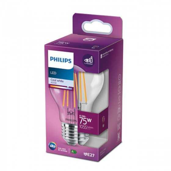 Bec LED Filament Philips 8.5W(75W) E27 A60 1055 lm 4000K Clar
