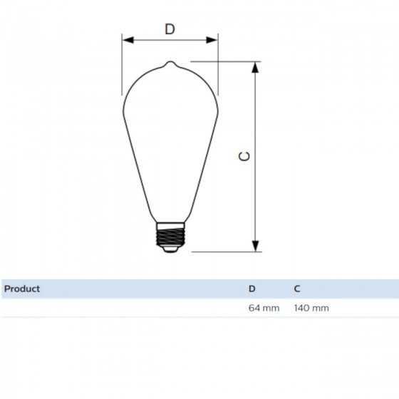 Bec LED Filament Philips 7W(60W) E27 ST64 806 lm 2700K Clar
