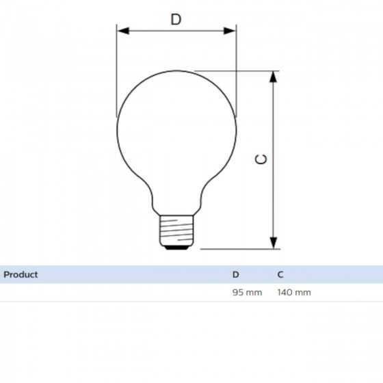 Bec LED Filament Philips 7W(60W) E27 G93 Glob 806 lm 2700K Clar