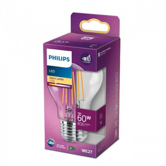 Bec LED Filament Philips 7W(60W) E27 A60 806 lm 2700K Clar