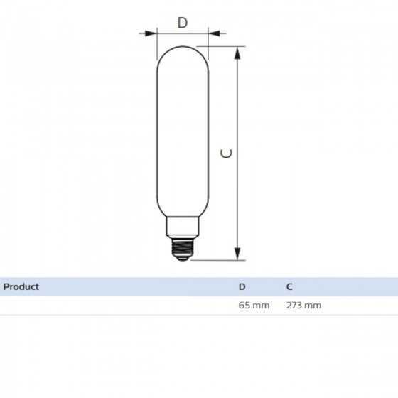 Bec LED Filament Philips 6.5W(40W) E27 Dimabil T65 470 lm 2000K Vintage Giant Smoky