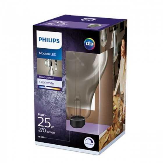 Bec LED Filament Philips 6.5W(25W) E27 Dimabil A160 270 lm 4000K Vintage Giant Smoky