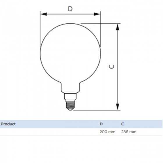 Bec LED Filament Philips 5W(25W) E27 G200 Glob 300 lm 2000K Vintage Giant Gold