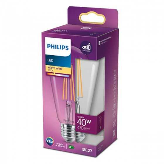 Bec LED Filament Philips 4.3W(40W) E27 ST64 470 lm 2700K Clar