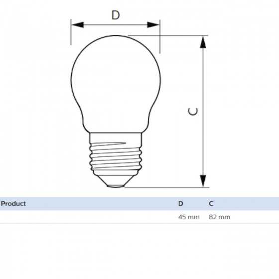 Bec LED Filament Philips 4.3W(40W) E27 P45 470 lm 2700K Clar