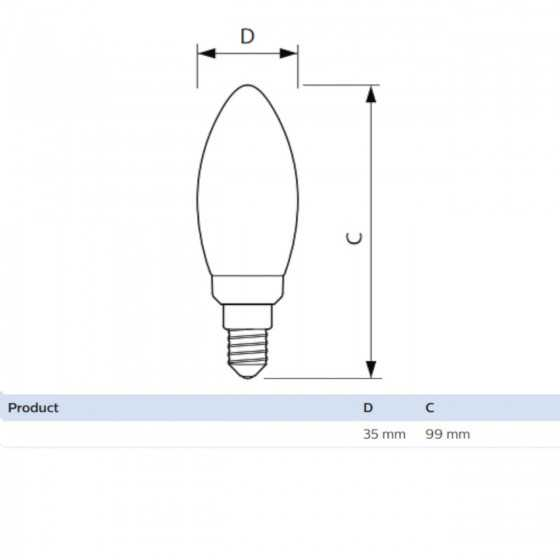 Bec LED Filament Philips 2W(25W) E14 B35 250 lm 2700K Clar