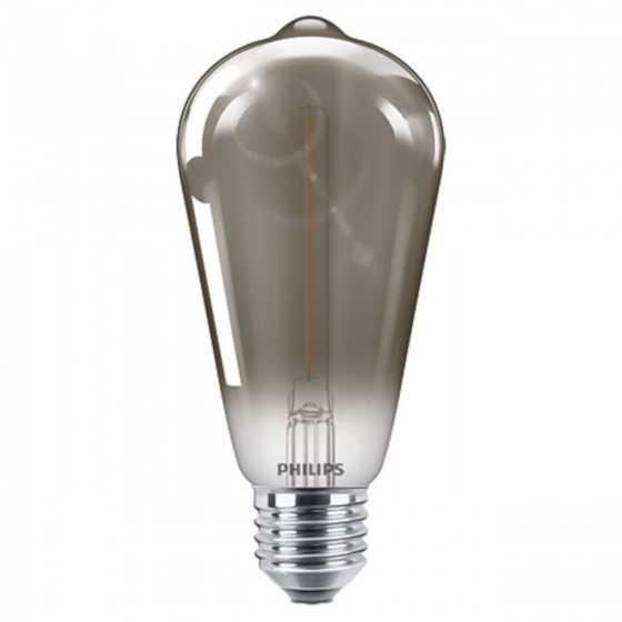 Bec LED Filament Philips 2.3W(11W) E27 ST64 100 lm 2000K Vintage Smoky