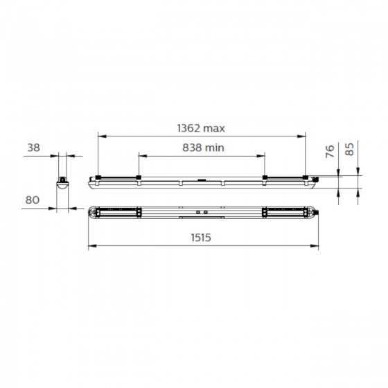 Corp Tip Neon LED Philips CoreLine Waterproof WT120C G2 LED60S/840 PSU 43W 6000lm lumina alba naturala
